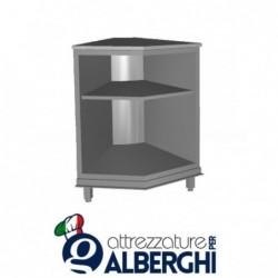 Banco bar neutro acciaio inox aperto con ripiano intermedio angolo interno 45°