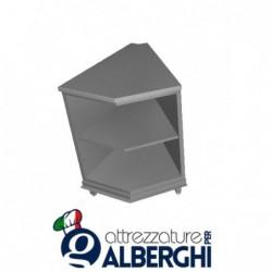 Banco bar neutro acciaio inox aperto con ripiano intermedio angolo interno squadrato 45°
