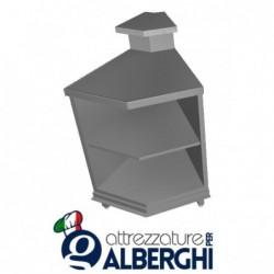 Banco bar neutro acciaio inox aperto con ripiano intermedio e bancalina angolo interno squadrato 45°