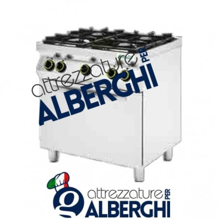 Cucina a gas 4 fuochi con forno elettrico Dim. 800x700x900h mm