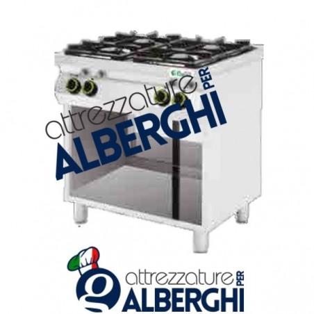 Cucina a gas 6 fuochi con vano a giorno Dim. 1200x700x900h mm