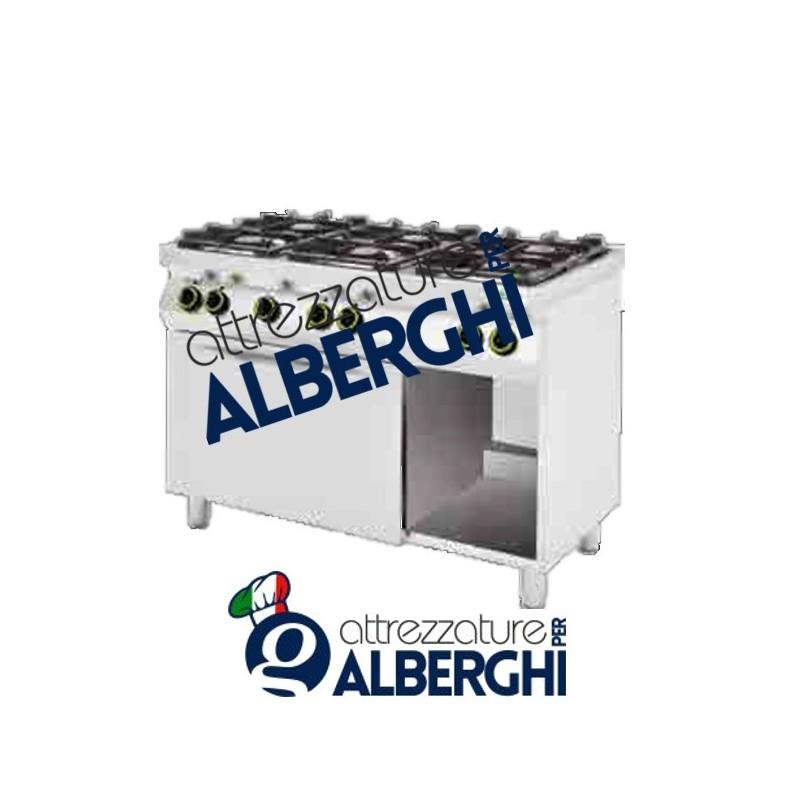 Cucina a gas 6 fuochi con forno a gas + vano a giorno Dim. 1200x700x900h mm