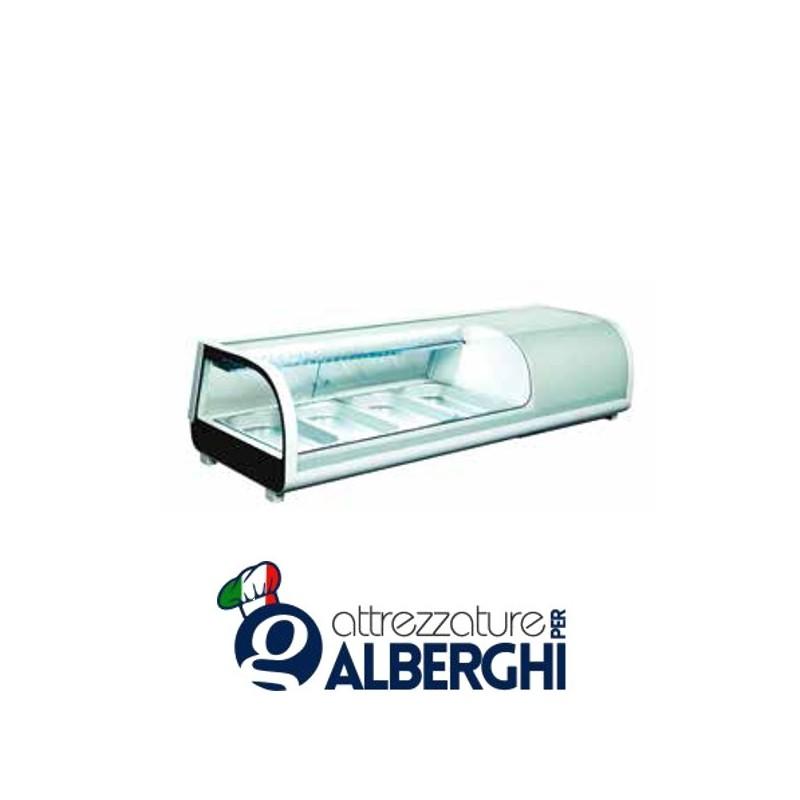 Espositore refrigerato statico da banco per sushi Temp. 0/+12°C Dim. 1177x420x265 mm