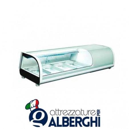Espositore refrigerato statico da banco per sushi Temp. 0/+12°C Dim. 1177x420x265 mm professionale