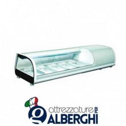 Espositore refrigerato statico da banco per sushi Temp. 0/+12°C Dim. 1352x420x265 mm