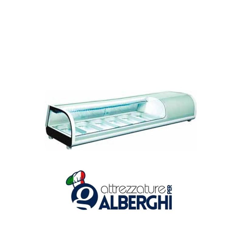 Espositore refrigerato statico da banco per sushi Temp. 0/+12°C Dim. 1529x420x265 mm