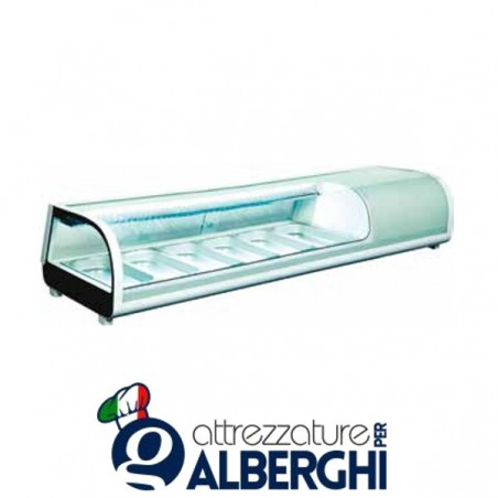 Espositore refrigerato statico da banco per sushi Temp. 0/+12°C Dim. 1529x420x265 mm professionale