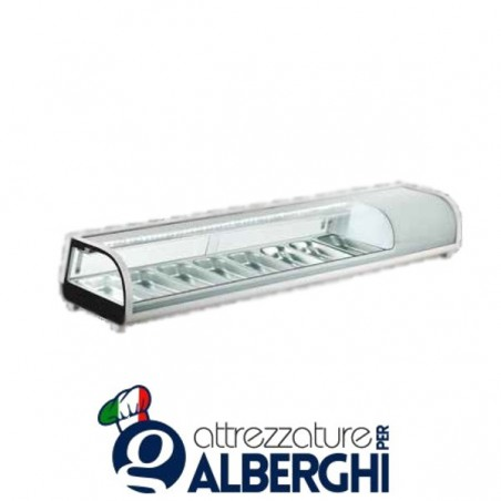 Espositore refrigerato statico da banco per sushi Temp. 0/+12°C Dim. 1800x420x265 mm professionale