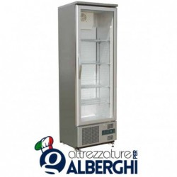 Armadio refrigerato Vetrina espositiva statico in Acciaio Inox Temperatura +2/+8°C Dim. 600x520x1872 mm
