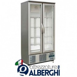 Armadio refrigerato Vetrina espositiva statico in Acciaio Inox due ante Temperatura +2/+8°C Dim. 920x52x1872 mm