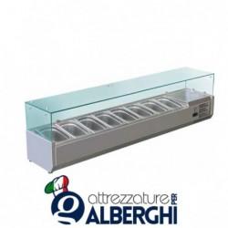 Refrigeratore statico pizzeria per pizza con vetri Temp. +2/+8°C Dimensioni 1500x330x400 – 7 Teglie GN1/4