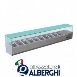 Refrigeratore statico pizzeria per pizza con vetri Temp. +2/+8°C Dimensioni 2000x330x400 – 10 Teglie GN1/4
