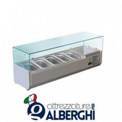 Refrigeratore statico pizzeria per pizza con vetri Temp. +2/+8°C Dimensioni 1500x380x400 – 5 Teglie GN1/3 + 1 GN1/2