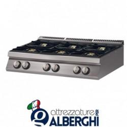 Cucina 6 Fuochi a gas top – Dim.cm. 120x70x27h