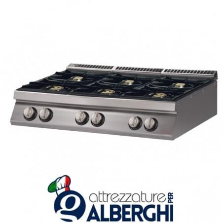 Cucina 6 Fuochi a gas top - Dim.cm. 120x70x27h