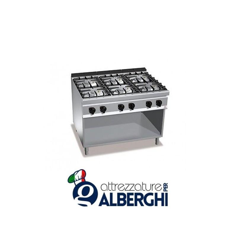 Cucina 6 Fuochi a gas vano a giorno – Dim.cm. 105x70x85h