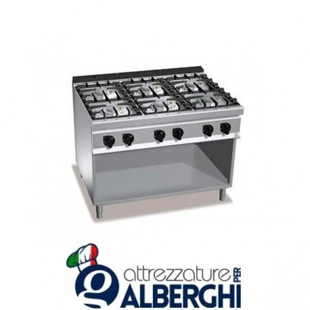 Cucina 6 Fuochi a gas vano a giorno - Dim.cm. 105x70x85h professionale
