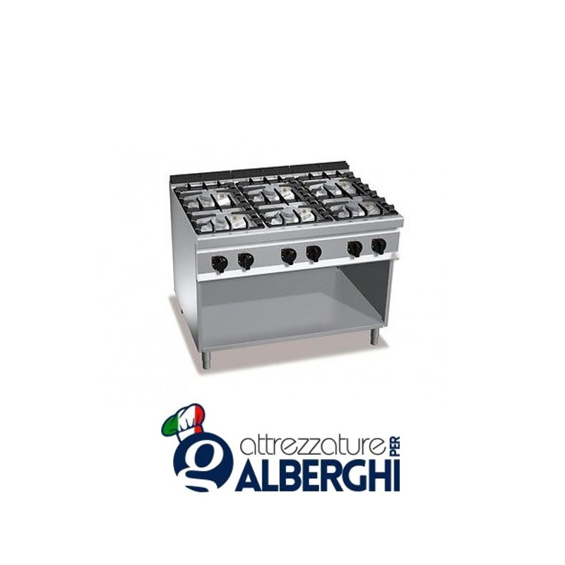 Cucina 6 Fuochi a gas vano a giorno – Dim.cm. 120x70x85h