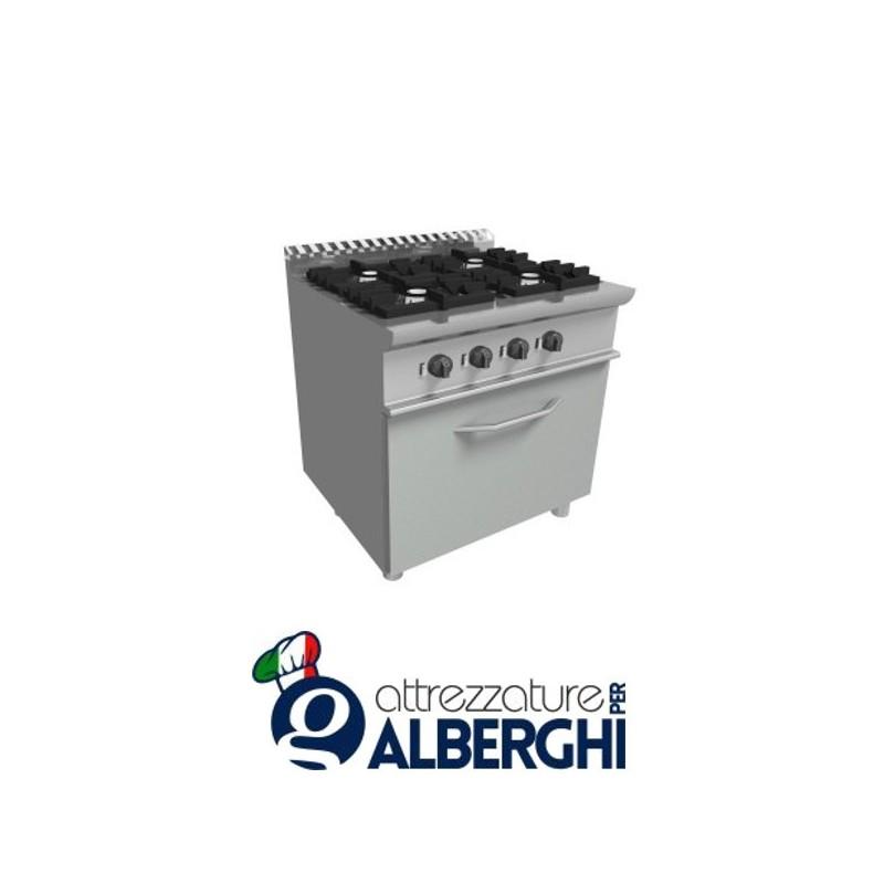 Cucina 4 Fuochi A Gas Con Forno A Gas Dim Cm 80x70x85h