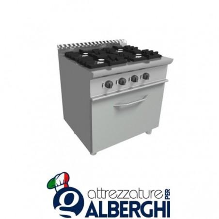 Cucina 4 Fuochi a gas con forno elettrico - Dim.cm. 70x70x85h