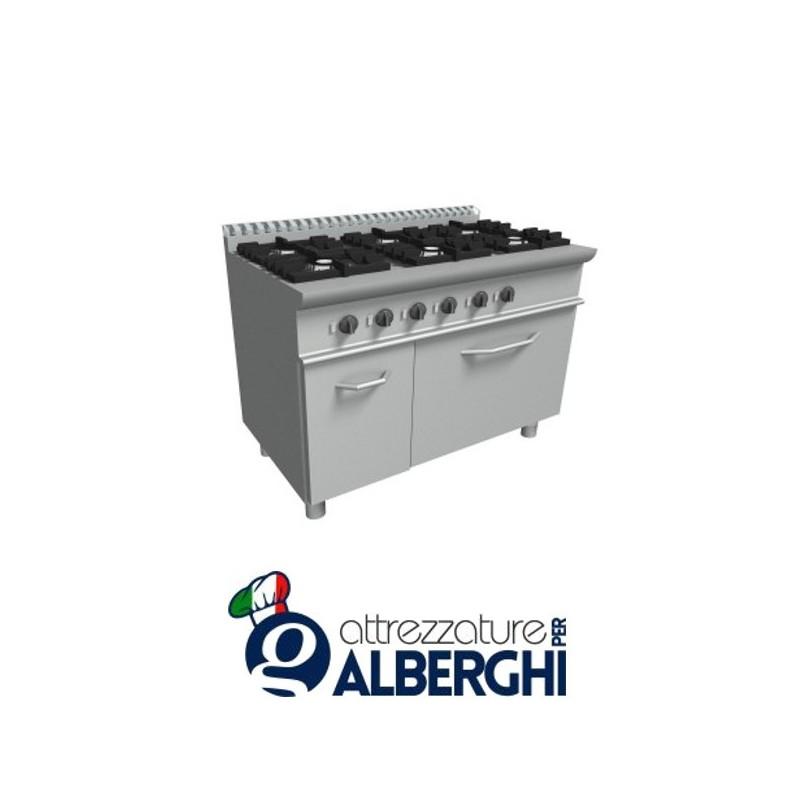 Cucina 6 Fuochi a gas con forno a gas – Dim.cm. 120x70x85h