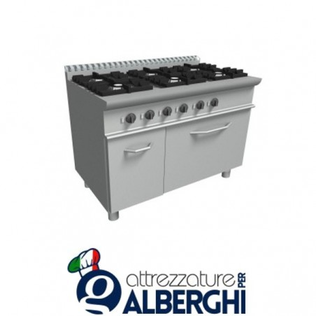 Cucina 6 Fuochi a gas con forno a gas - Dim.cm. 120x70x85h