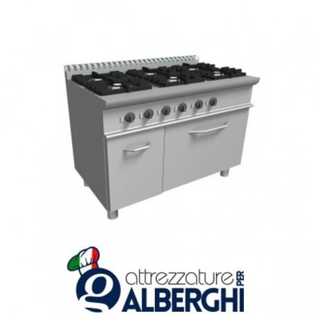 Cucina 6 Fuochi a gas con forno elettrico - Dim.cm. 120x70x85h professionale
