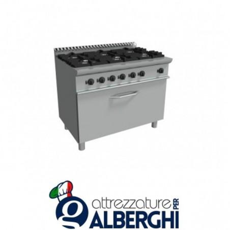Cucina 6 Fuochi a gas con maxi forno a gas - Dim.cm. 105x70x85h