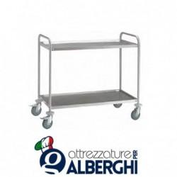 Carrello di servizio in acciaio inox a piani stampati metalcarrelli