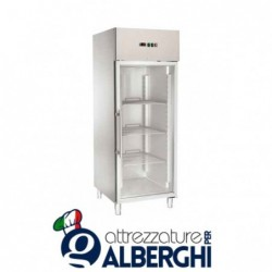 Armadio refrigerato congelatore ventilato GN2/1 acciaio inox -18/-22°C porta a vetri