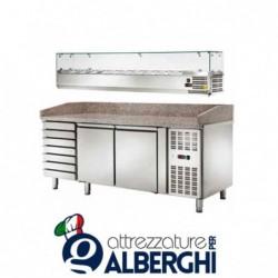 Banco pizza refrigerato ventilato con vetrinetta 2 sportelli e cassettiera -2/+8 °C