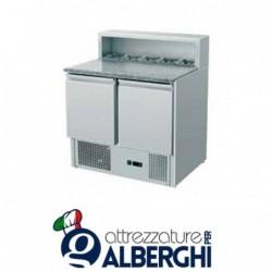 Saladette refrigerata statica pizzeria GN1/1 2 sportelli +2/+8