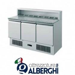 Saladette refrigerata statica pizzeria GN1/1 3 sportelli +2/+8
