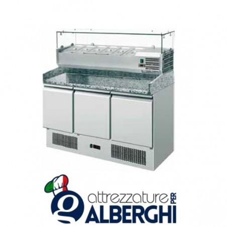 Saladette refrigerata statica pizzeria GN1/1 con vetrinetta e 3 sportelli +2/+8