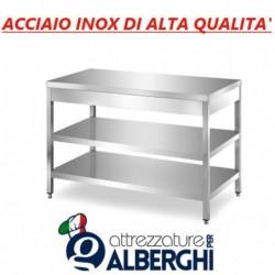 Tavolo acciaio inox di alta qualità con 2 ripiani – senza alzatina – Dim.Cm. 190x60x85h