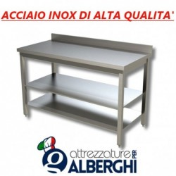 Tavolo acciaio inox di alta qualità con 2 ripiani – con alzatina – Dim.cm 130x60x85h