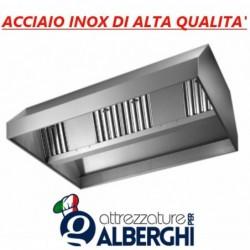 Cappa d'aspirazione acciaio inox centrale senza motore – Dimensioni cm 220x130x45h