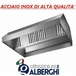 Cappa d'aspirazione acciaio inox centrale senza motore – Dimensioni cm 200x150x45h