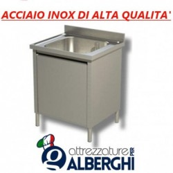 Lavatoio lavapentole acciaio inox armadiato 1 vasca Dim. 140x60x85 cm con Anta scorrevole
