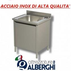 Lavatoio lavapentole acciaio inox armadiato 1 vasca Dim. 100x70x85 cm con Anta scorrevole