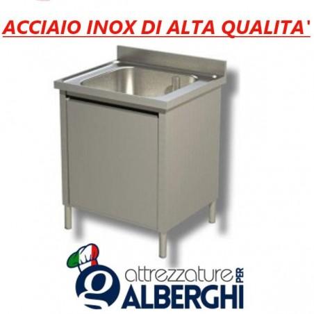 Lavatoio lavapentole acciaio inox armadiato 1 vasca Dim. 100x70x85 cm con Anta scorrevole professionale