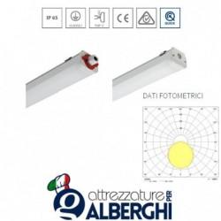 Lampada stagno LED 1x18W L. mm 65 con tubo e schermo in policarbonato stabilizzato UV coestruso in doppia finitura per cappa