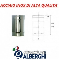 Condotto regolabile ø 250 mm in acciaio inox per cappe
