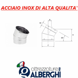 Canale tubo ø 200 mm canalizzazione tondo a 30° in acciaio inox per cappa