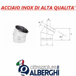 Canale tubo ø 400 mm canalizzazione tondo a 30° in acciaio inox per cappa