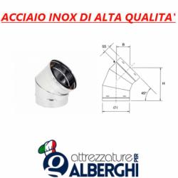 Canale tubo ø 150 mm canalizzazione tondo a 45° in acciaio inox per cappa