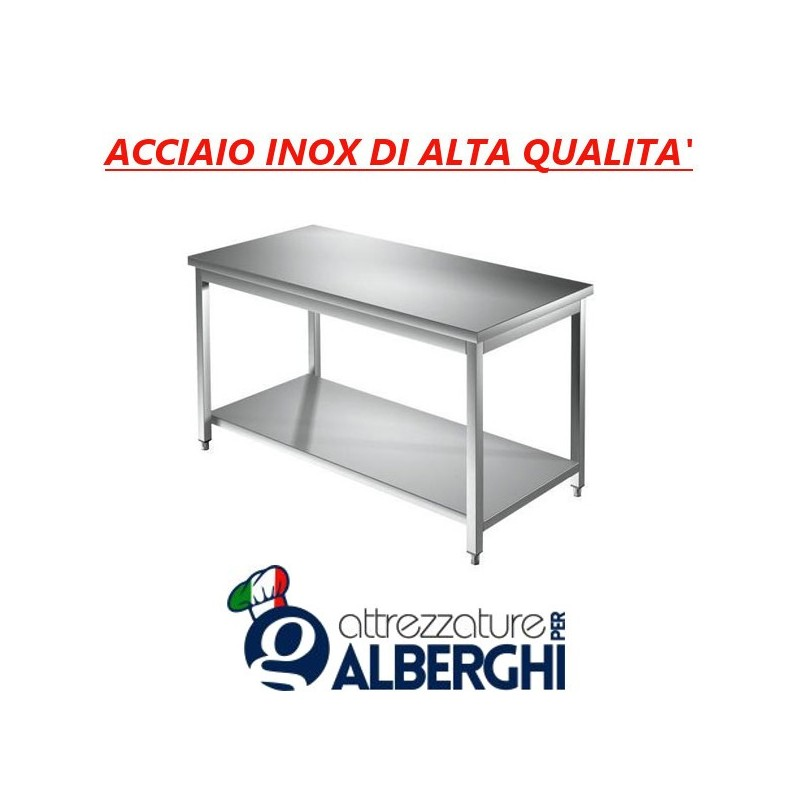 Tavolo acciaio inox con ripiano inferiore – senza alzatina – Dim. cm. 40x70x85H • LINEA ECO