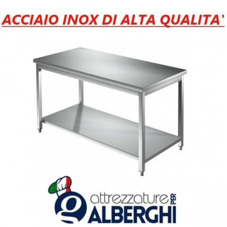 Tavolo acciaio inox con ripiano inferiore - senza alzatina - Dim. cm. 40x70x85H • LINEA ECO