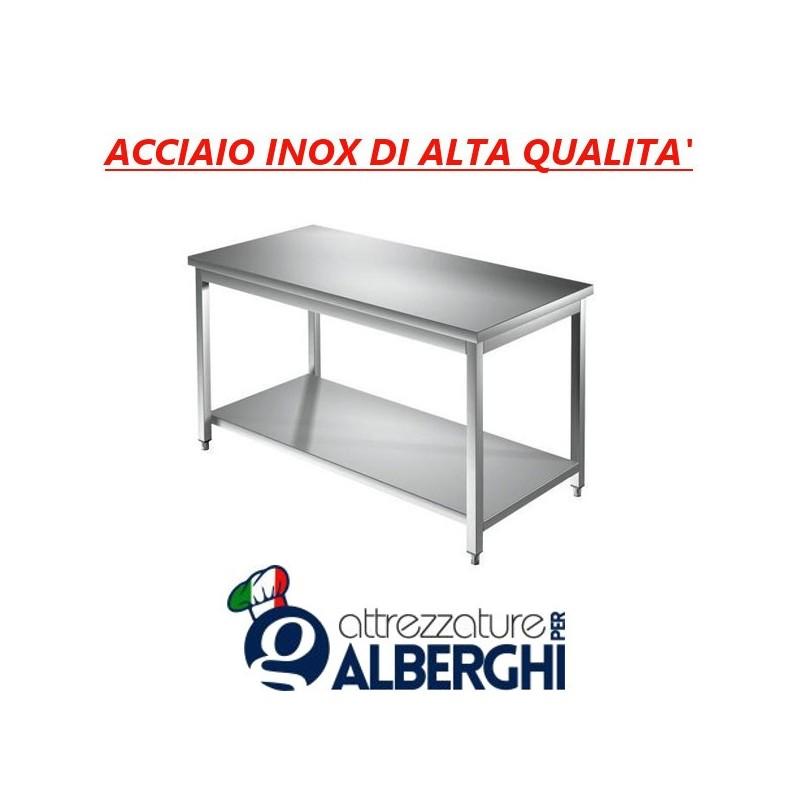Tavolo acciaio inox con ripiano inferiore – senza alzatina – Dim. cm. 50x70x85H • LINEA ECO