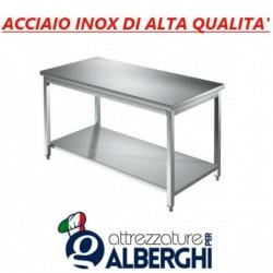 Tavolo acciaio inox con ripiano inferiore – senza alzatina – Dim. cm. 120x70x85H • LINEA ECO